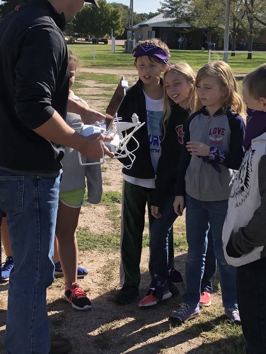 Learning about the uses of a drone in agriculture.