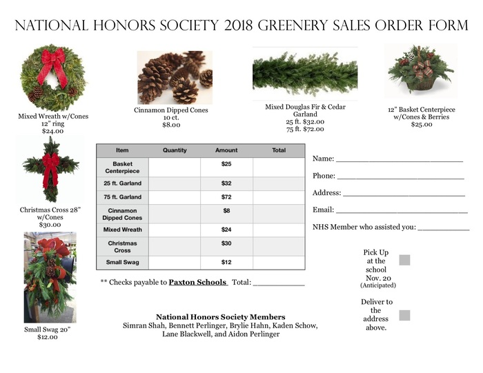 Greenery Order Form
