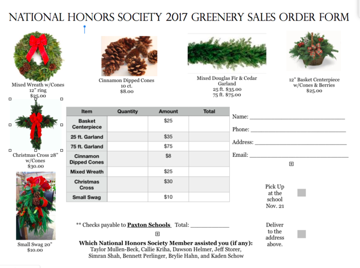 NHS Greenery Sales Order Form