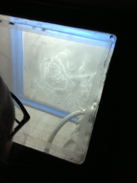 Sandblasting in the process.